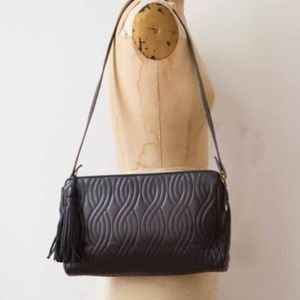 Fendi Quilted Tassle Black Lambskin Shoulder Bag